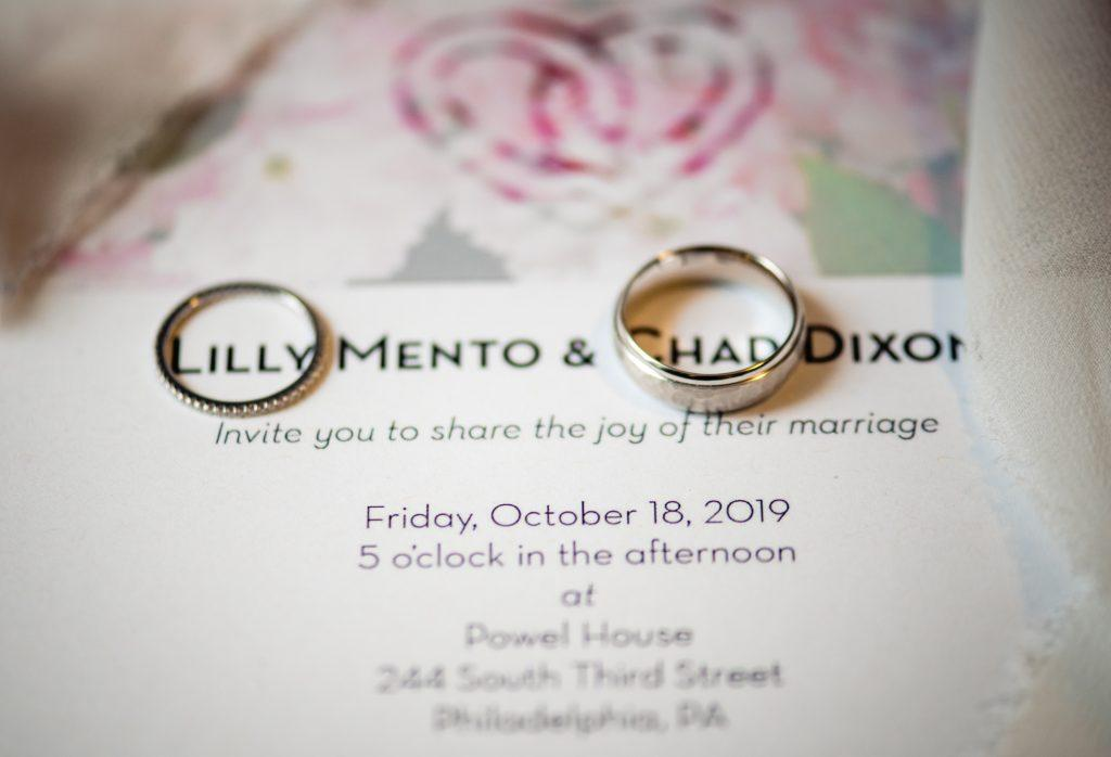 wedding bands on invitation