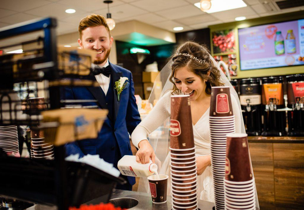 bride and groom getting coffee in wawa