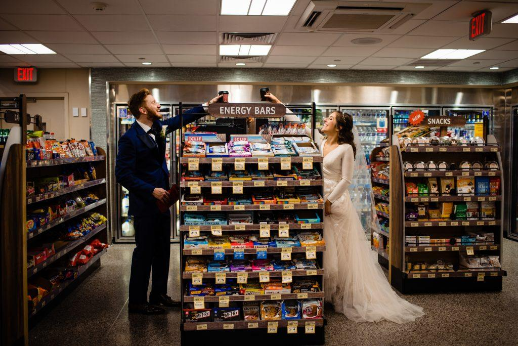 bride and groom in wawa