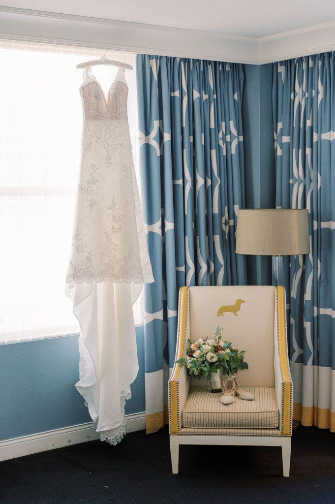wedding dress, bouquet and shoes