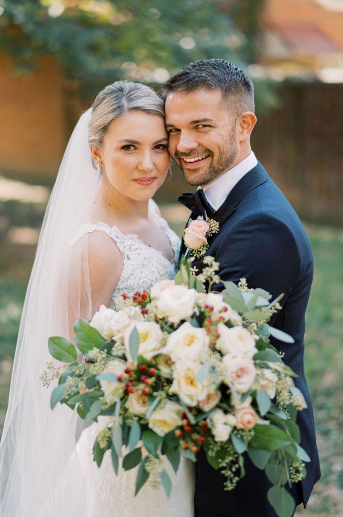 bride and groom wedding portrait outside