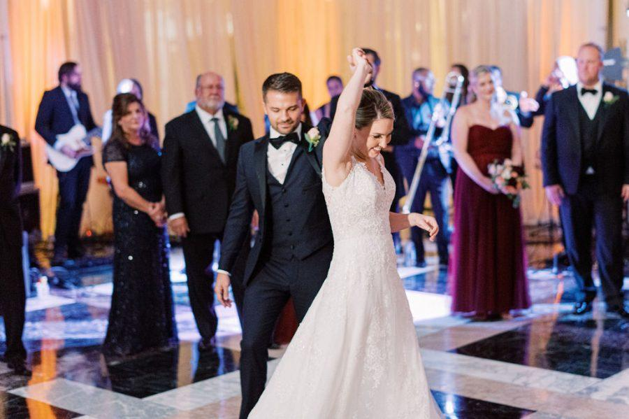 bride and groom dance at wedding reception