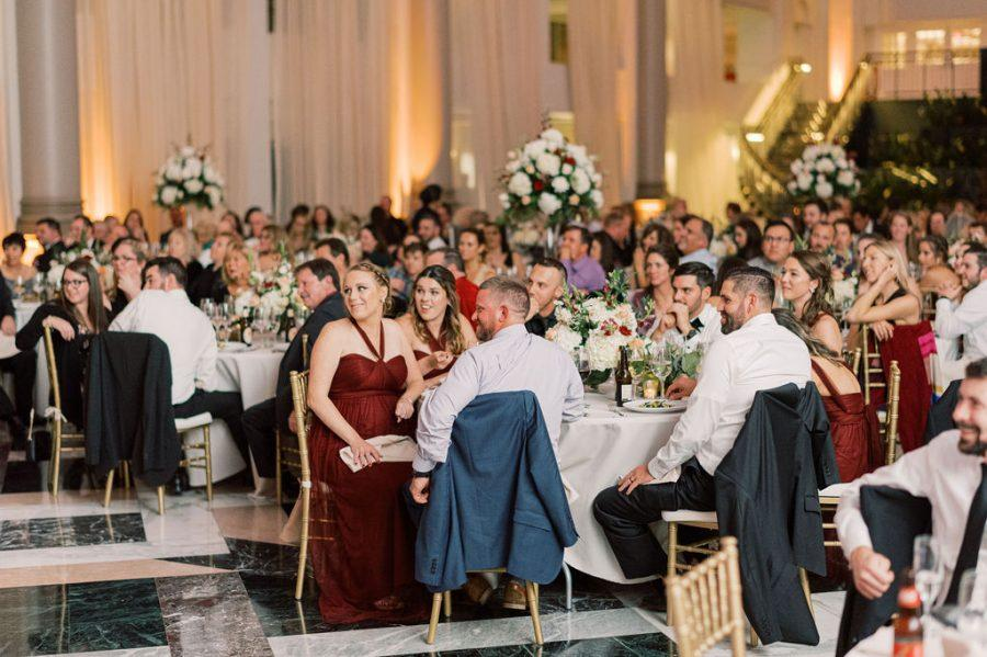 guests at wedding reception at the curtis atrium