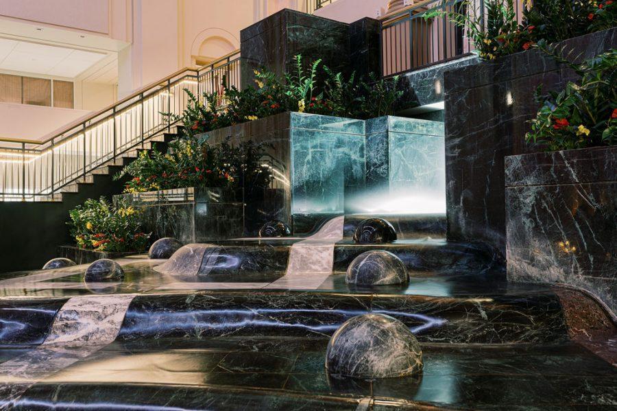 the curtis atrium waterfall
