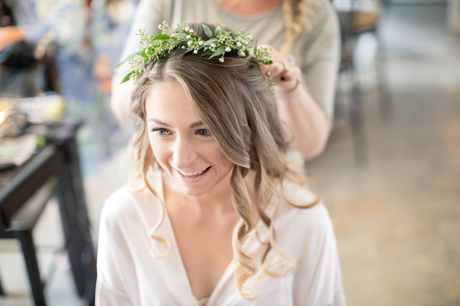 bride wearing floral crown