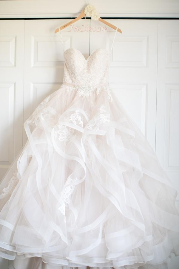 pastel blush pink ruffled wedding dress