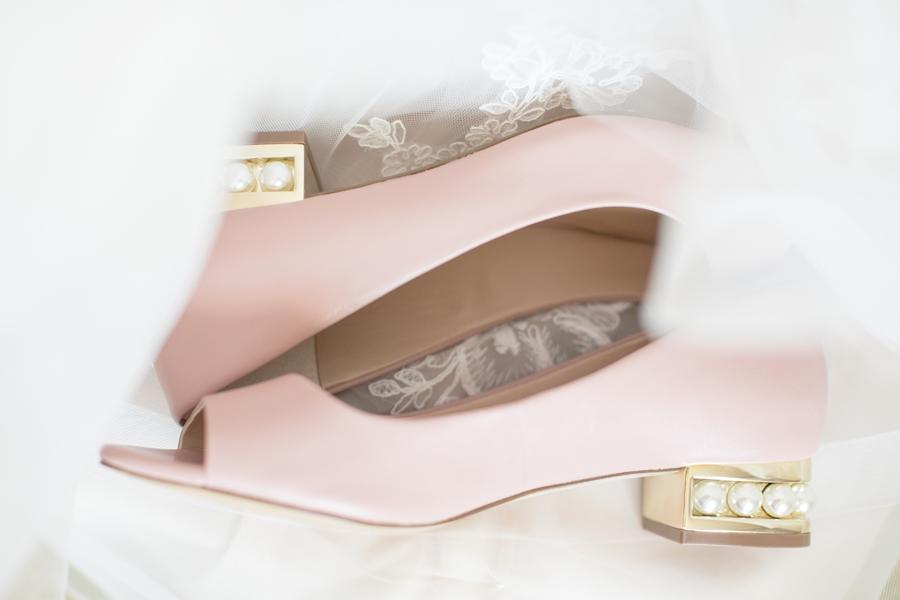pastel pink and pearl wedding shoes