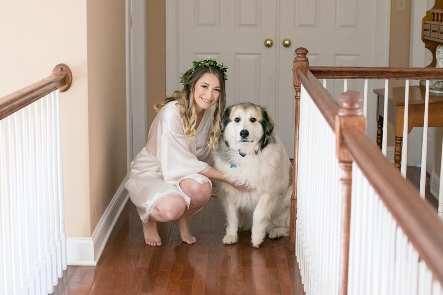bride poses with white dog
