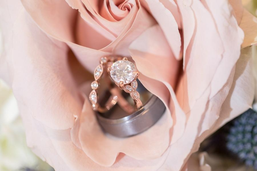 rose gold and diamond wedding and engagement rings