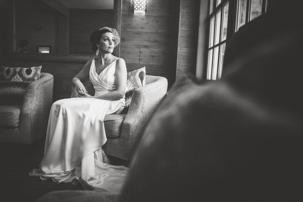 kimberly kunda photography, bride looks through window