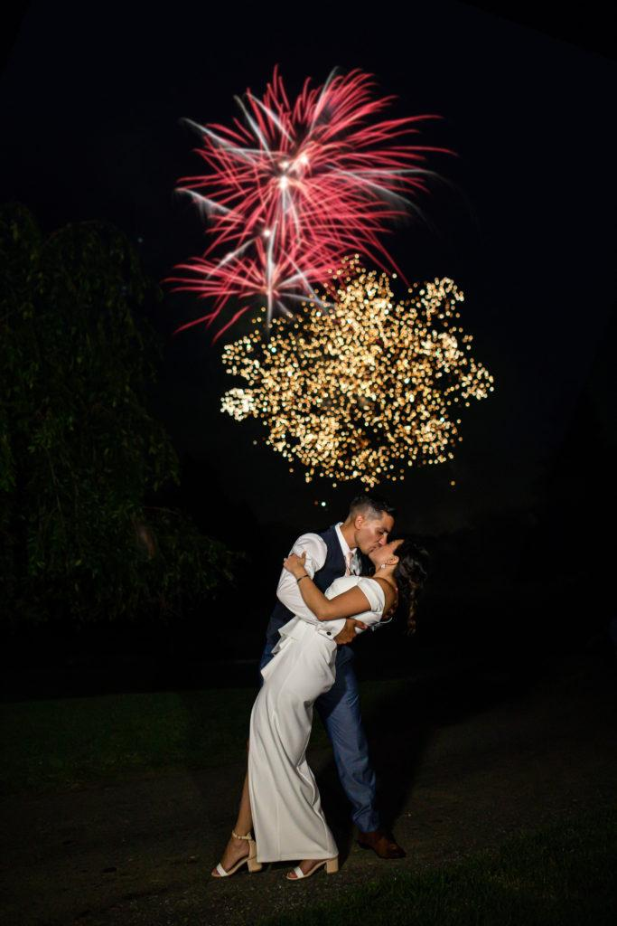 fireworks, penn oaks country club wedding