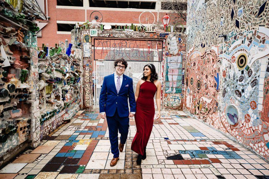 couple walk in magic gardens