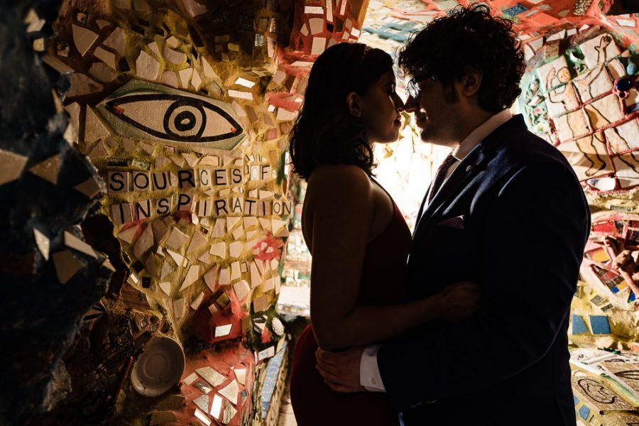 couple holding close in magic gardens