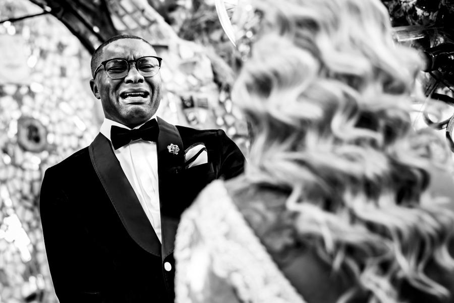 groom's emotional response to his bride
