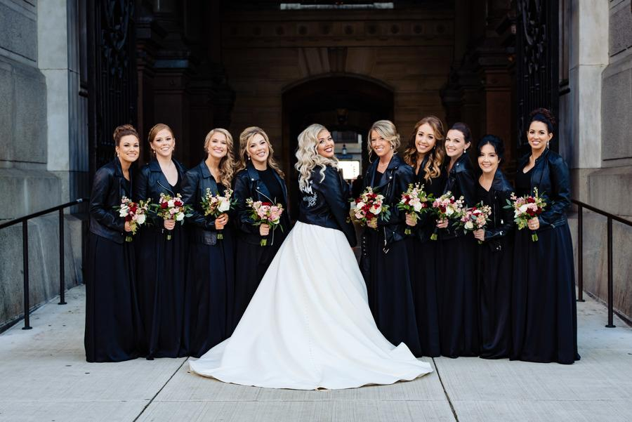 bride and bridesmaids wearing leather jackets