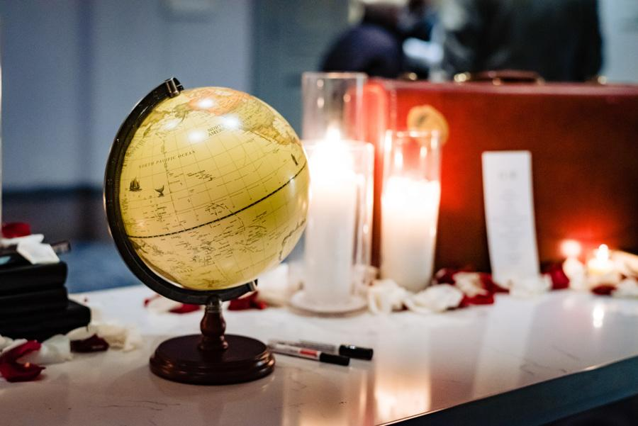wedding welcome table with globe