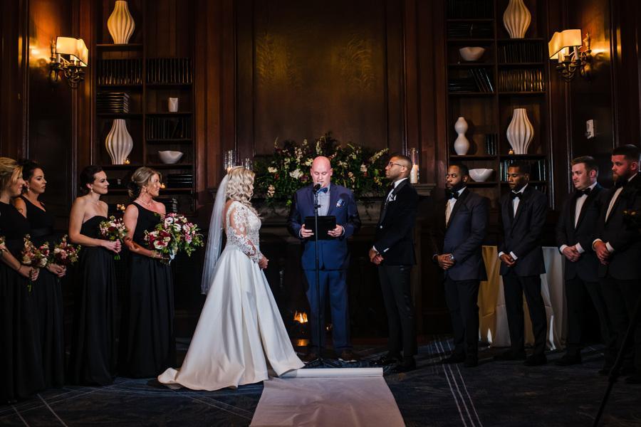 bride and groom being married