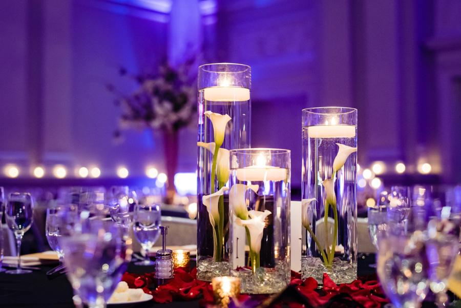 wedding table decor with floating candles