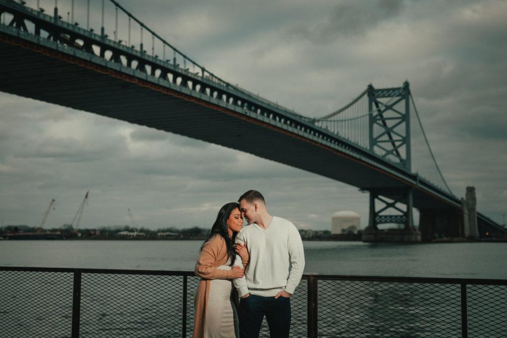 Race Street Engagement , nik morina photography, Benjamin Franklin Bridge