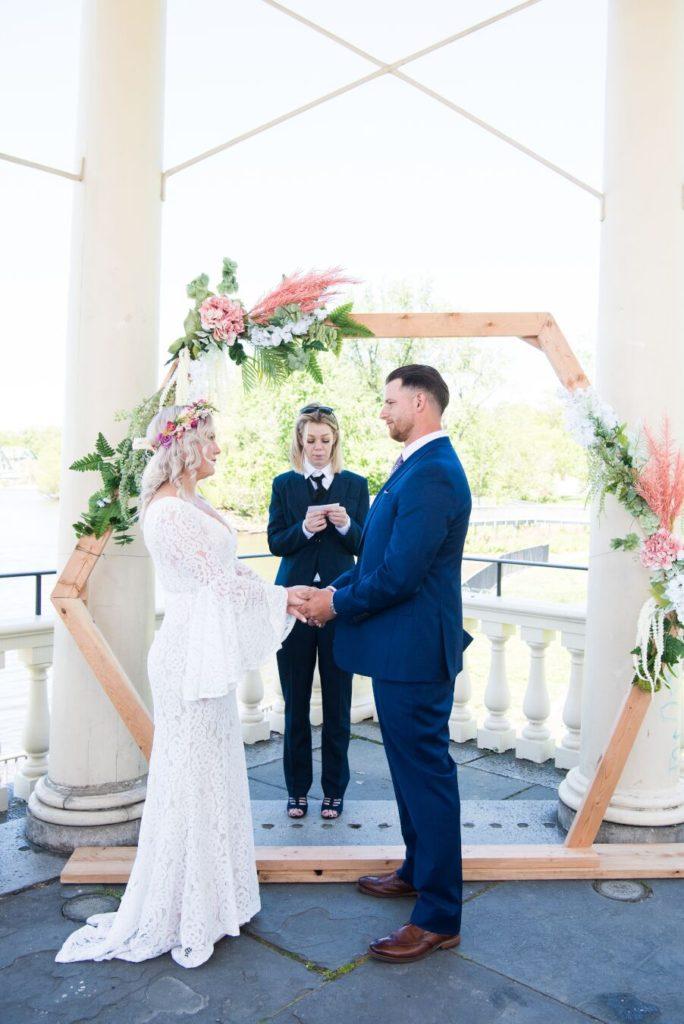 ceremony, waterworks gazebo wedding