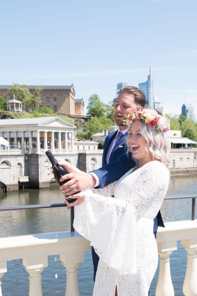 champagne, waterworks gazebo wedding