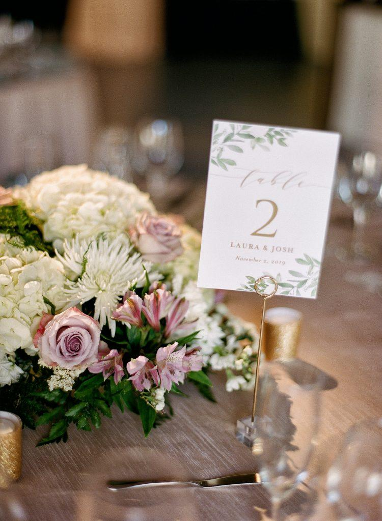 wedding reception table with flowers