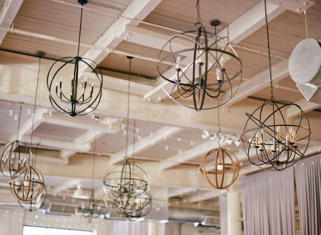 wedding venue geometric lighting fixtures