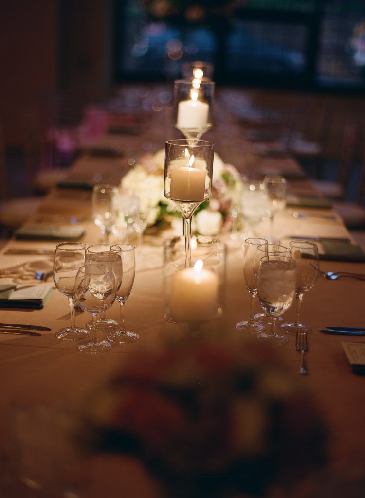wedding reception table with candles