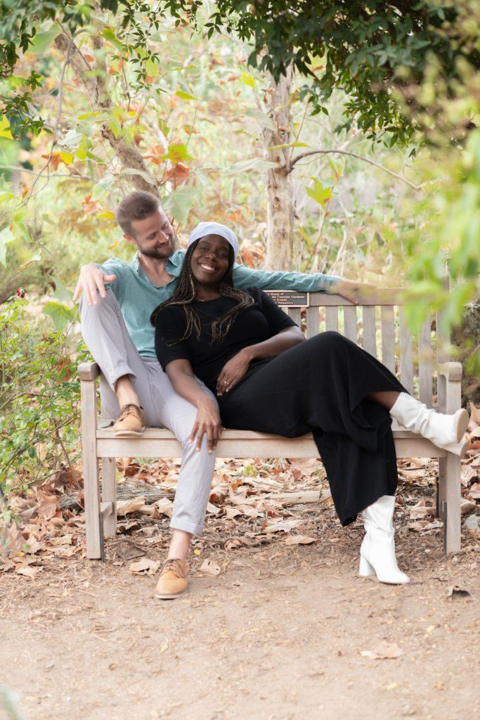 engagement photos, ALN images, bench