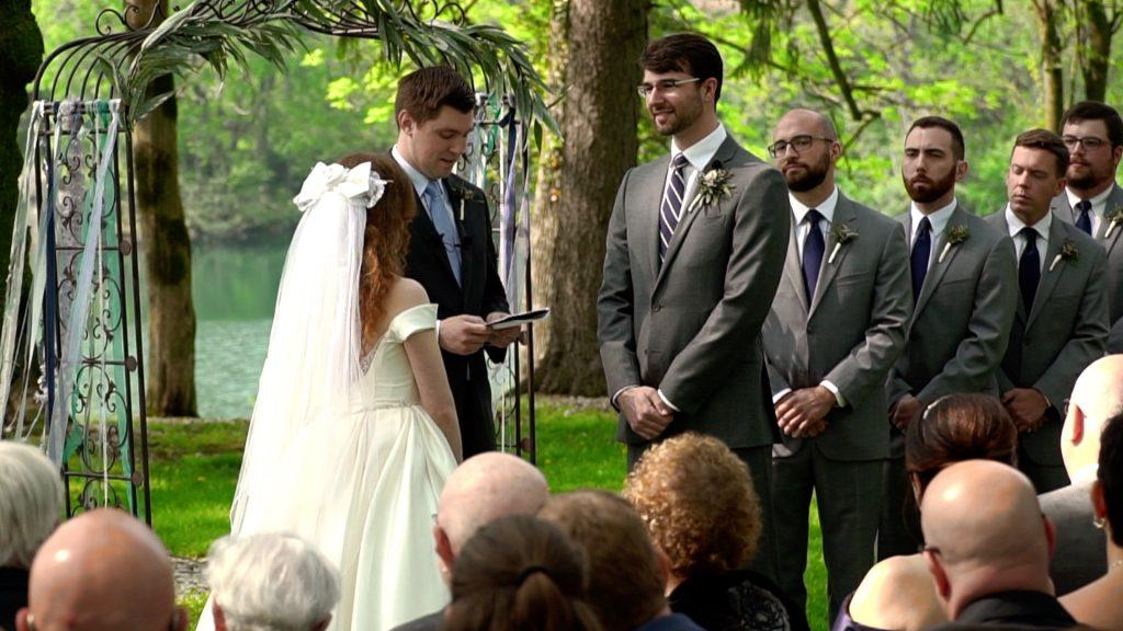 officiant conducts marriage ceremony