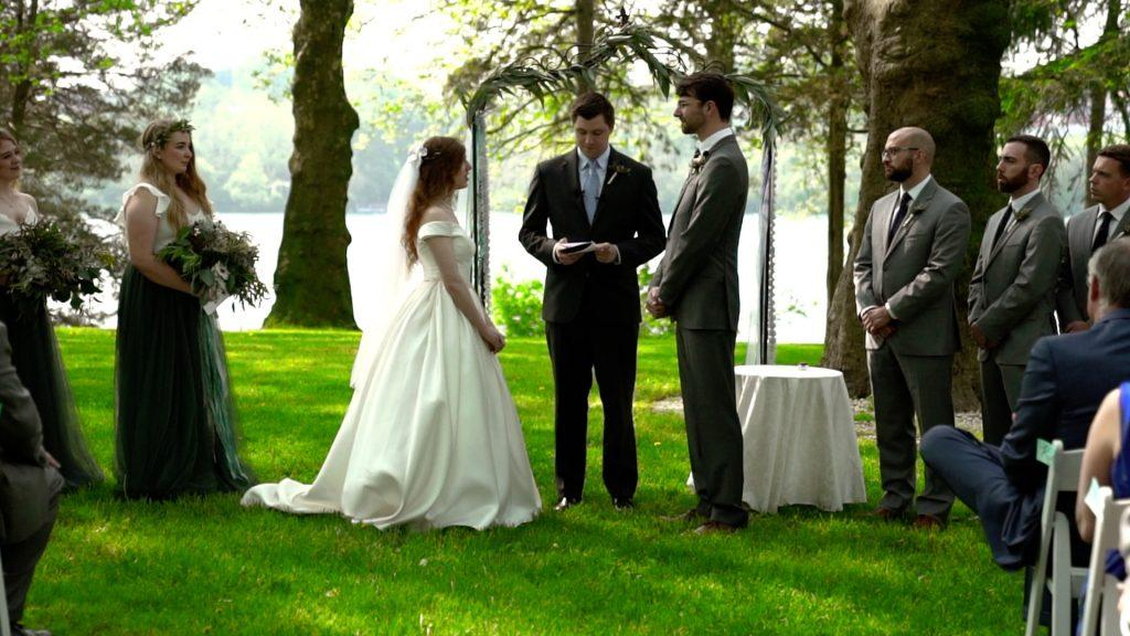 bride and groom get married on outdoor estate
