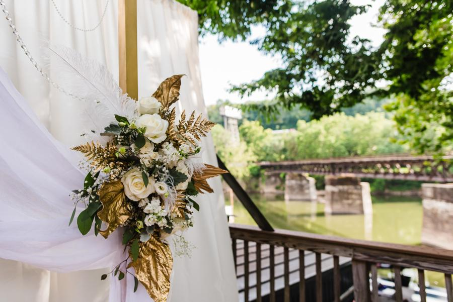 outdoor floral accents at wedding