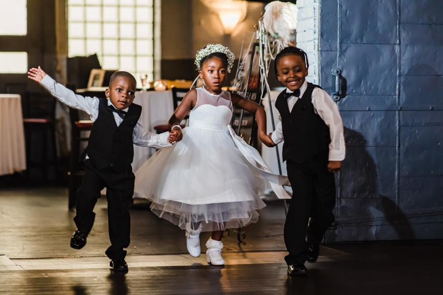 little kids dressed in formal wear at wedding