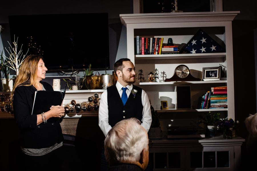 groom and wedding officiant