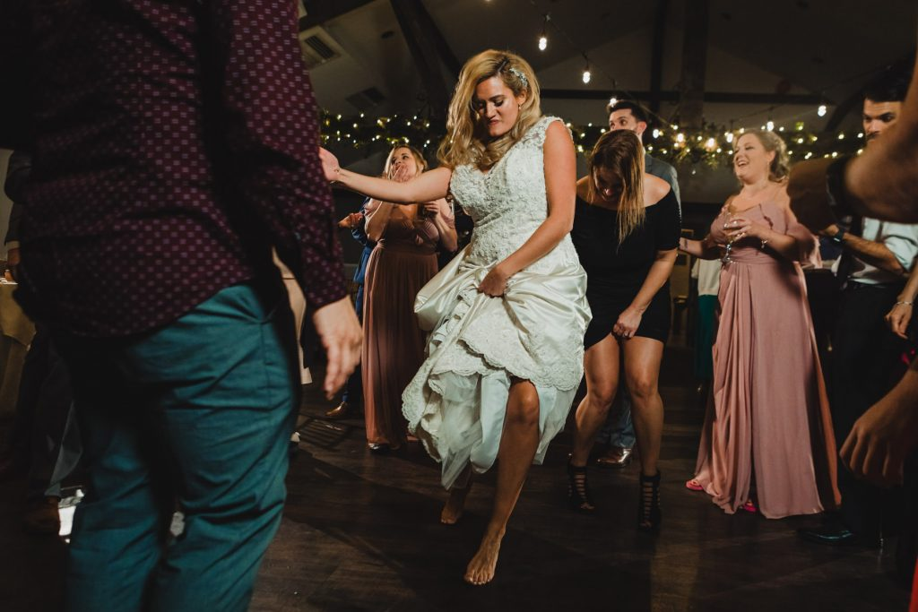 bride dances barefoot