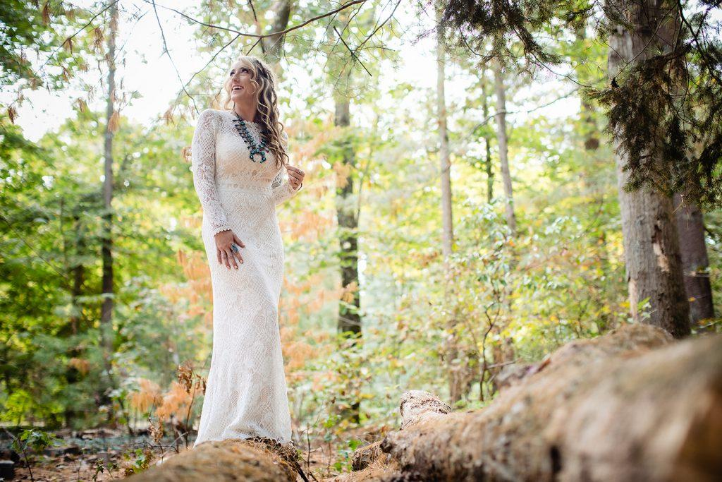 bride in white lace crochet wedding dress