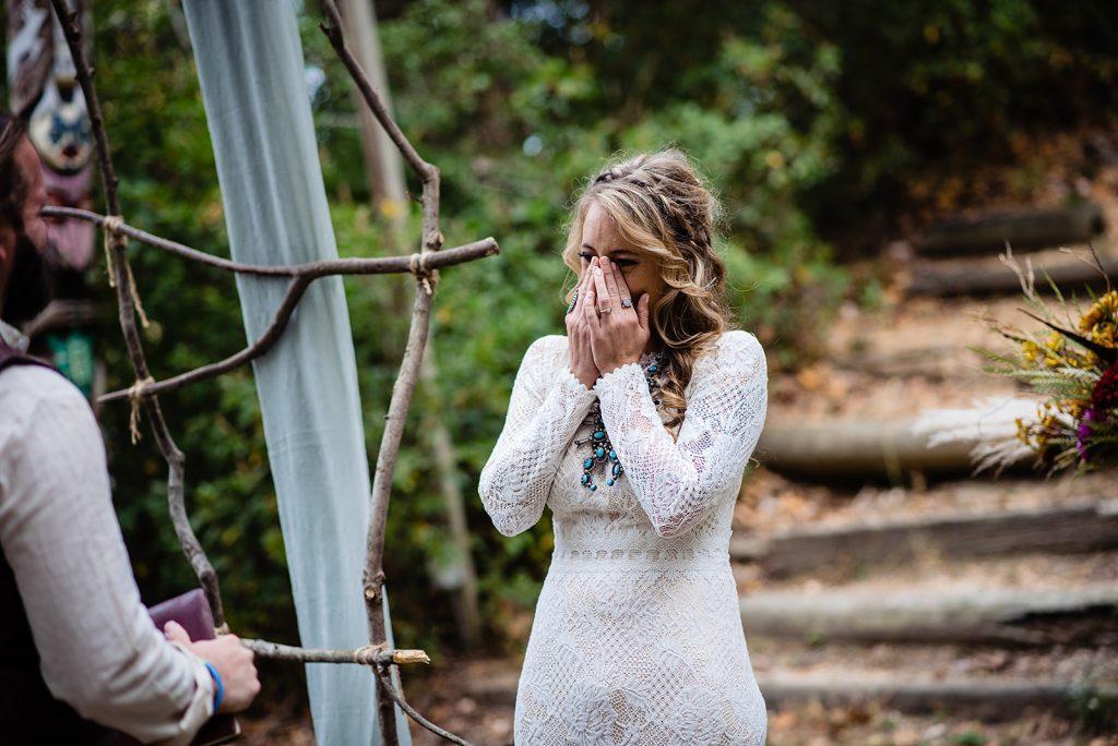 bride cries at wedding