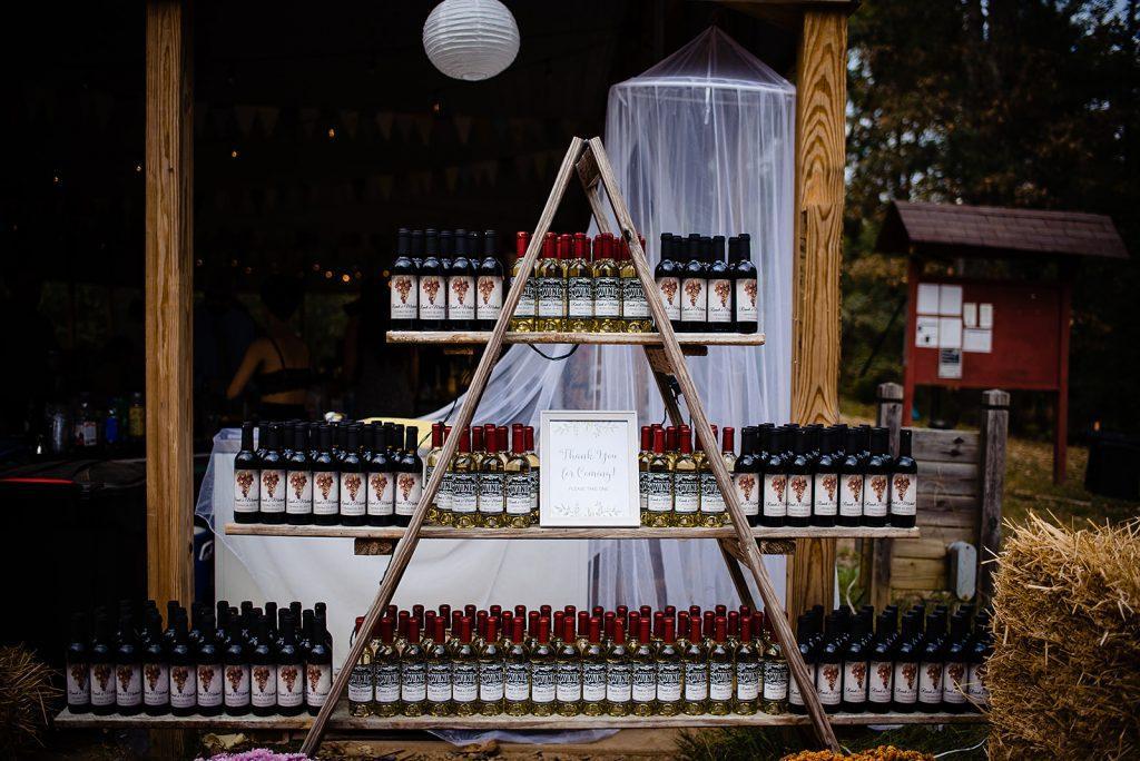 wedding reception wine display