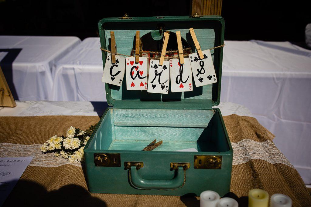 wedding cards in blue vintage suitcase