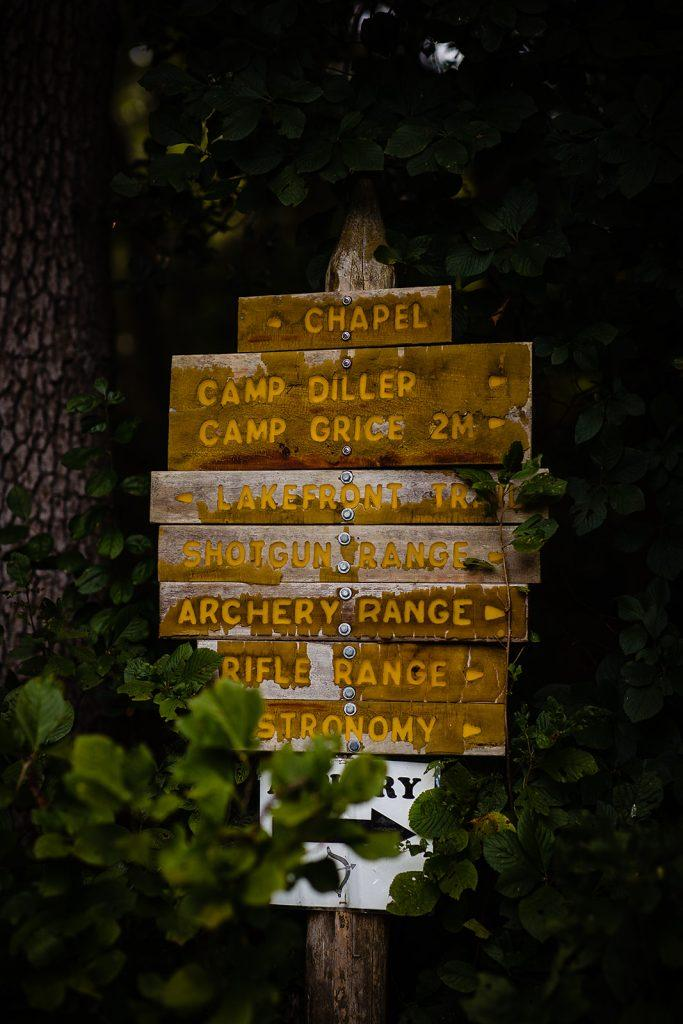 wedding sign in forest