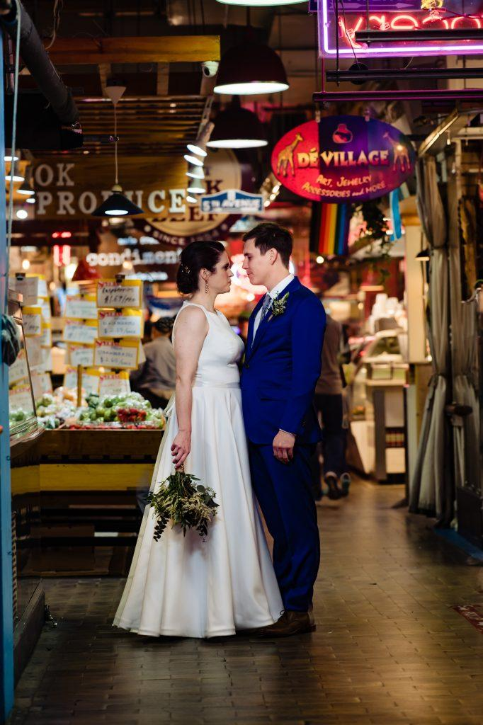 bride and groom in Reading Terminal Market