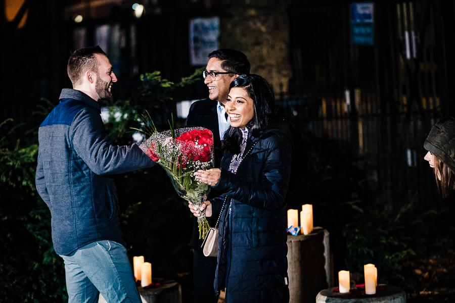 couple congratulated on proposal