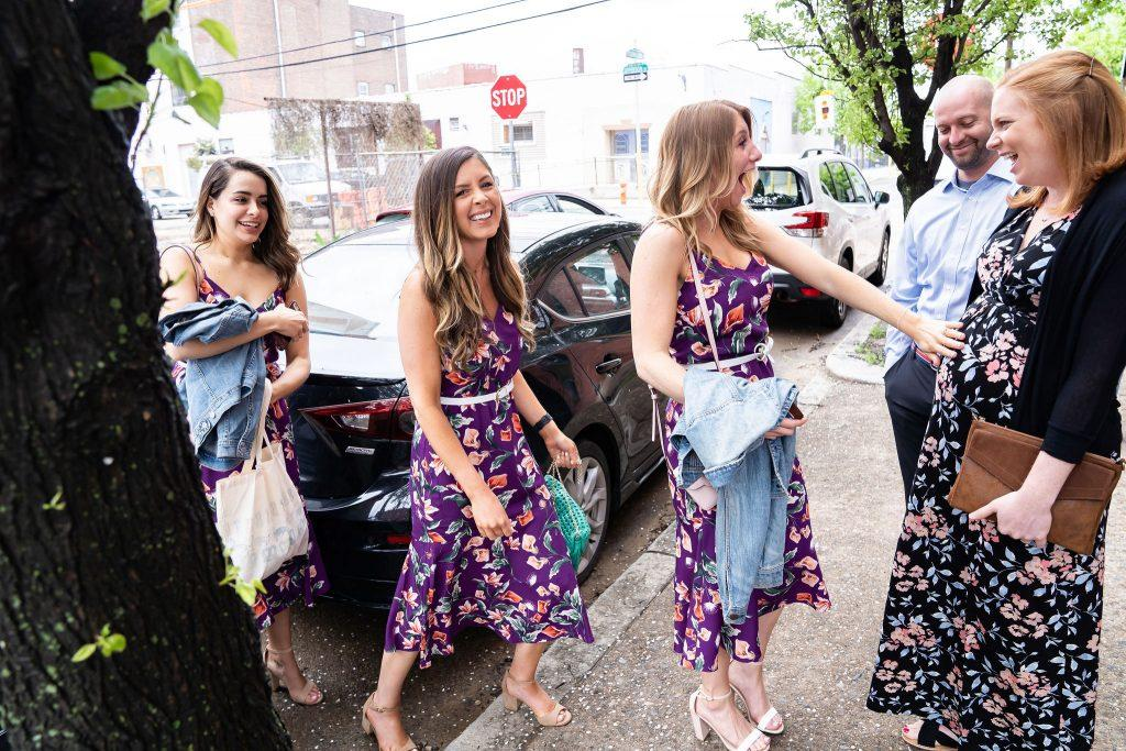 bridesmaids arrive at wedding