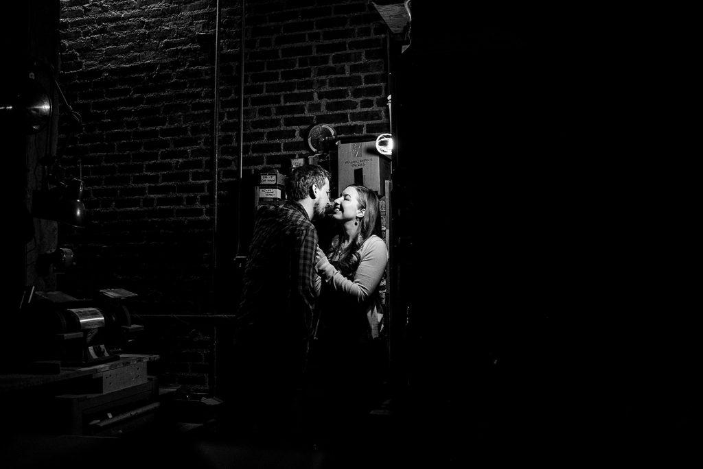 engaged couple backstage in theatre
