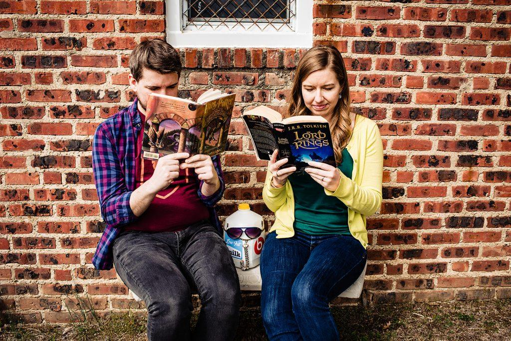 engaged couple read harry potter books