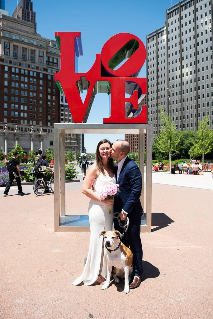 love park sign, micro wedding