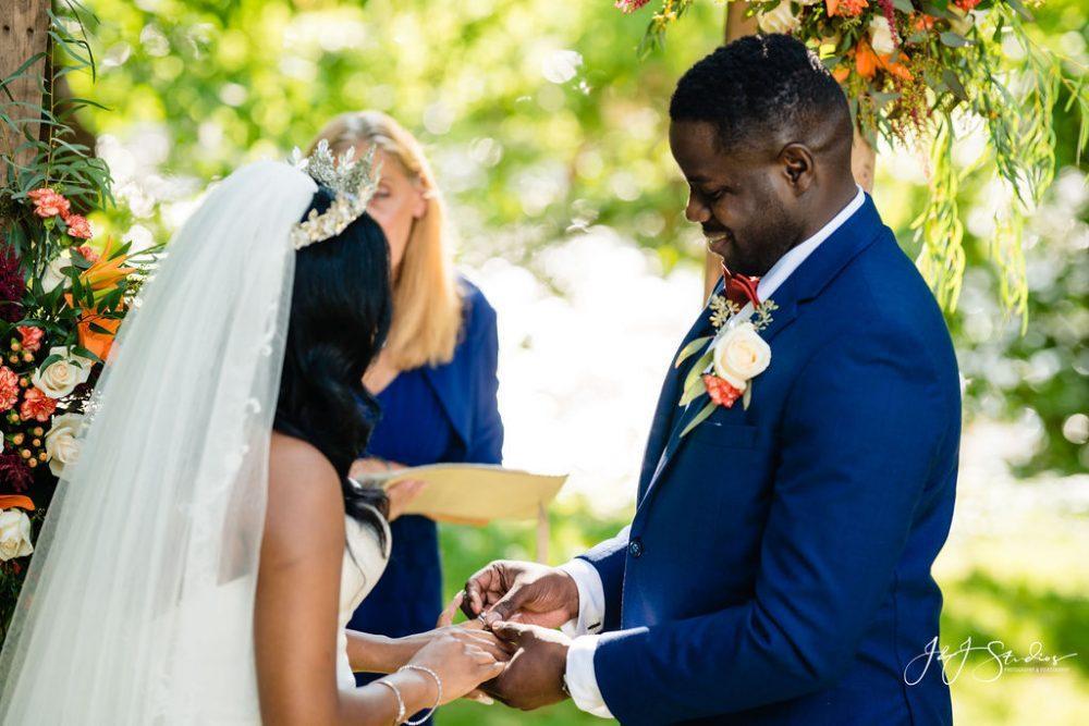 Black bride and groom get married