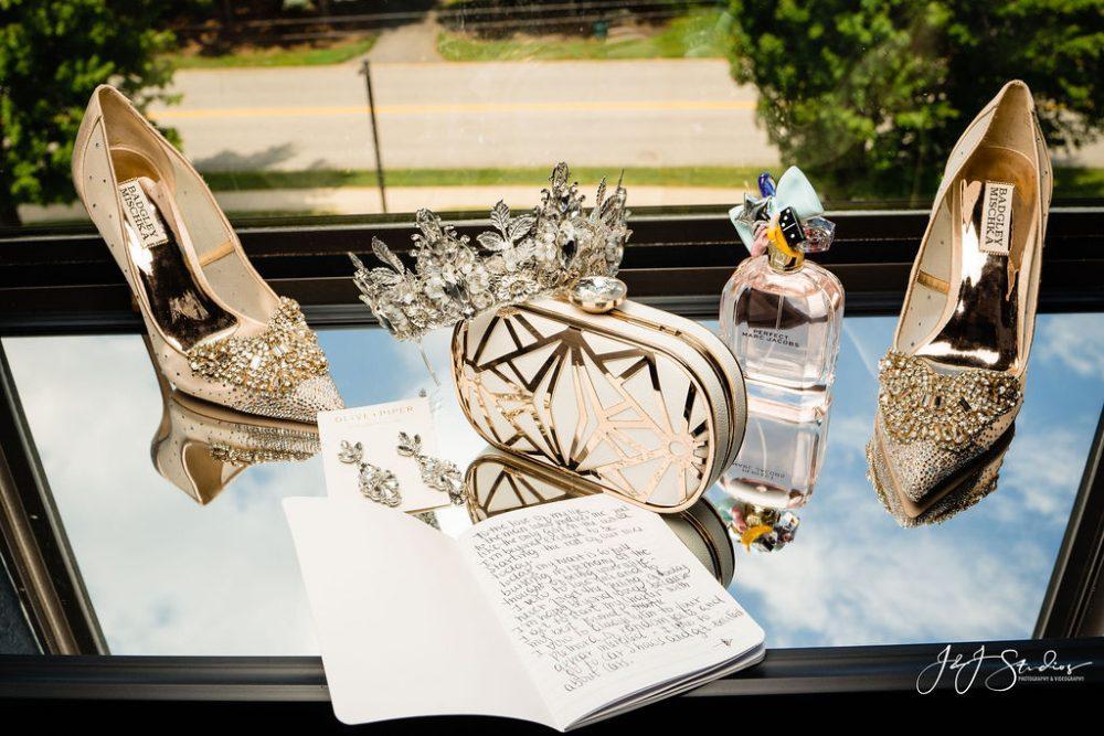 wedding details with handwritten vows