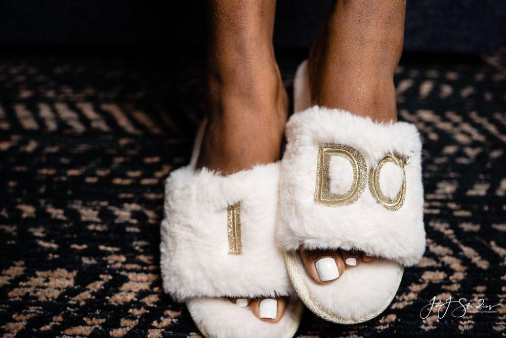 """bridal """"i do"""" slippers"""