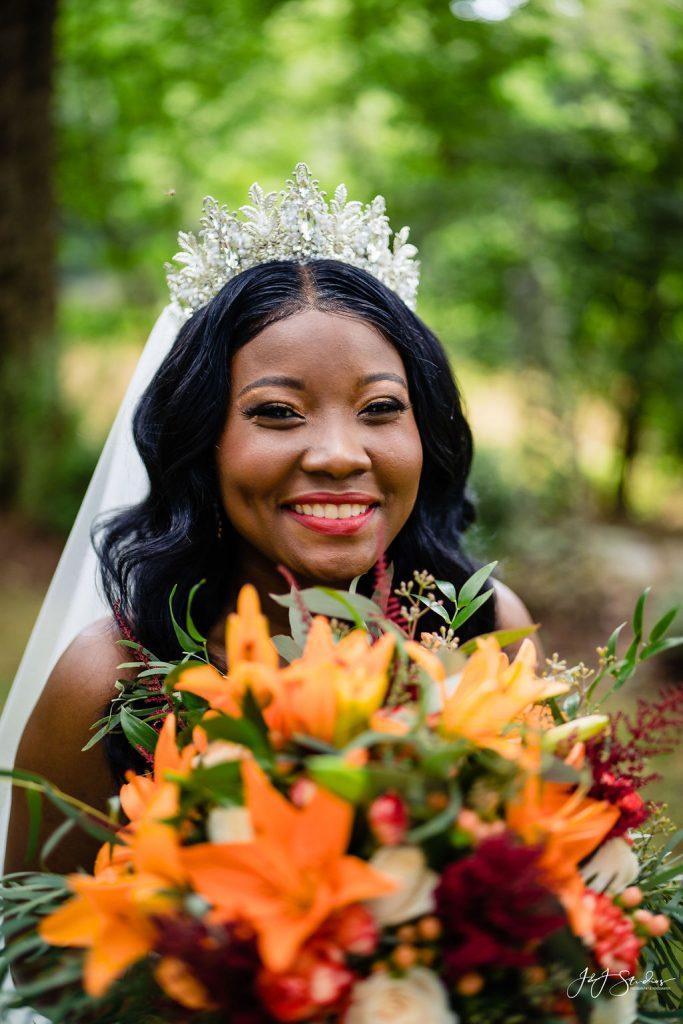 beautiful Black bride wearing crown